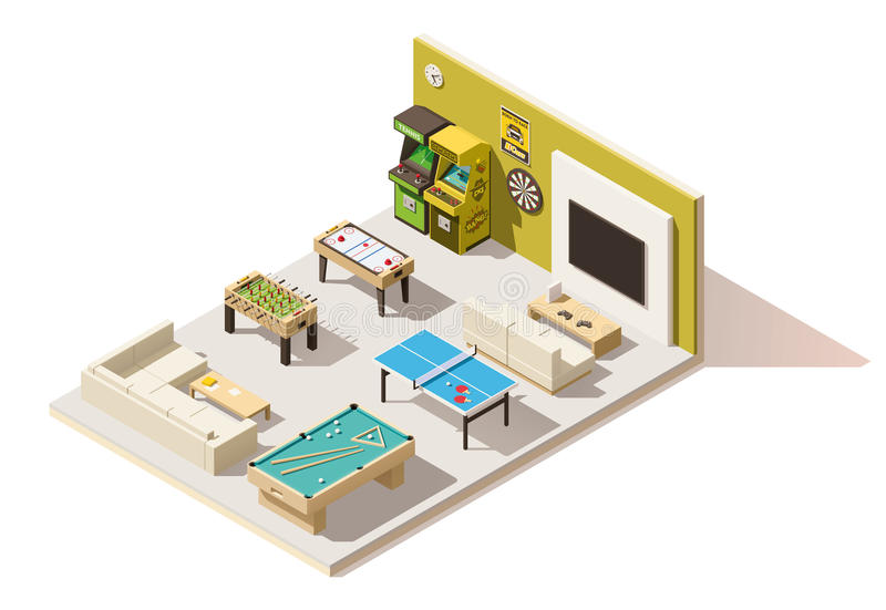 Vector isometric low poly recreation room interior. Vector isometric low poly recreation room royalty free illustration