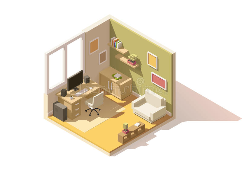 Vector isometric low poly room cutaway icon royalty free illustration