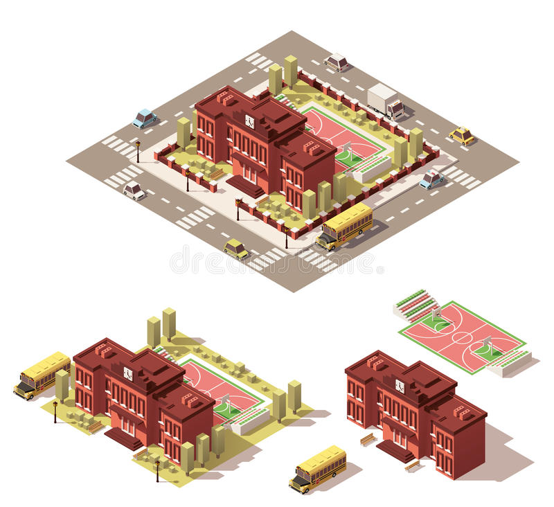 Vector isometric low poly school building icon royalty free illustration