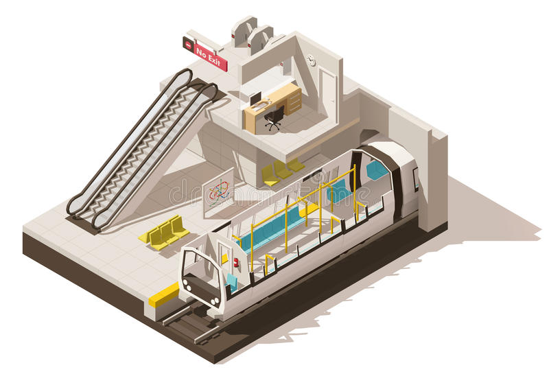 Vector isometric low poly subway station cutaway stock illustration