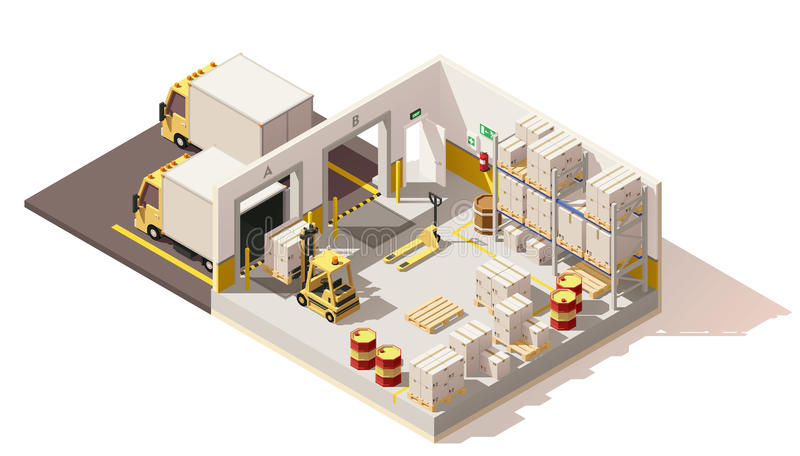 Vector isometric low poly warehouse royalty free illustration