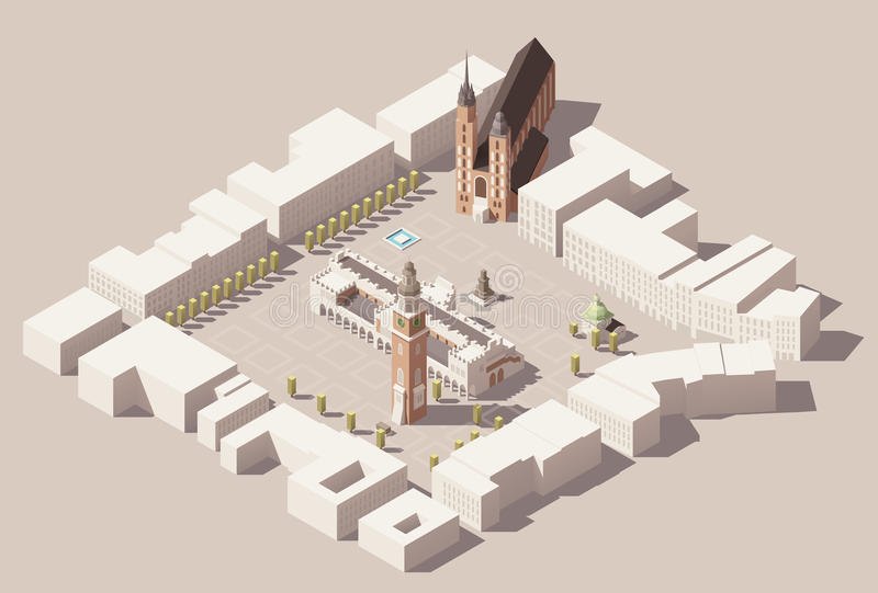 Vector isometric Main Market Square of the Krakow, Poland map. Isometric low poly Map of center of the Krakow, Poland with Cloth Hall, Town Hall Tower, Church royalty free illustration