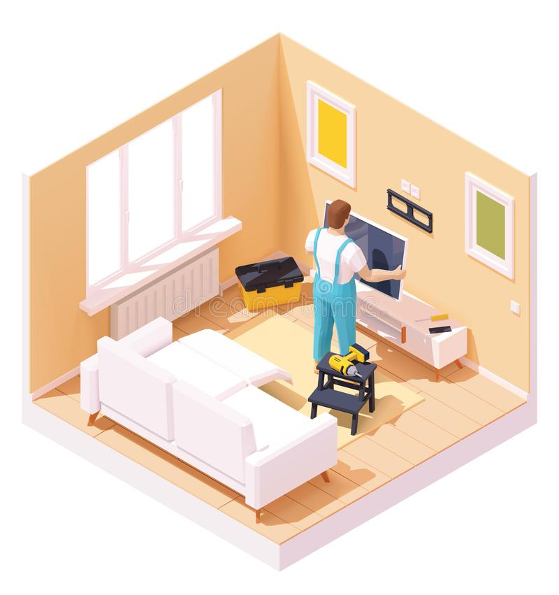 Vector isometric man at TV installation. Vector isometric man or technician worker at TV installation with the wall mount over the tv stand in the home room vector illustration