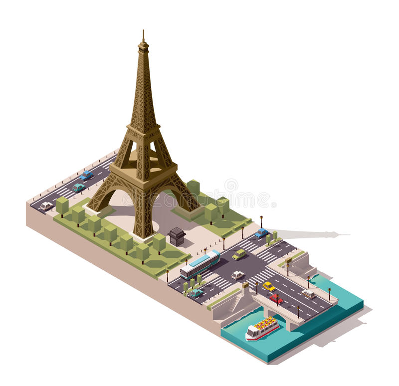Vector Isometric Map Of The Eiffel Tower Stock Vector Illustration