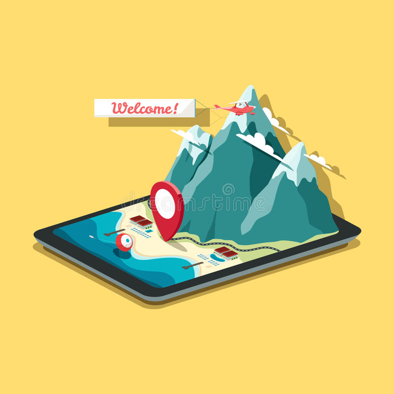 Vector isometric map in flat design style. Tablet PC with mobile. Navigation program. A pin is pointing at the hotel near the sea and rocky mountains. EPS 10 stock illustration