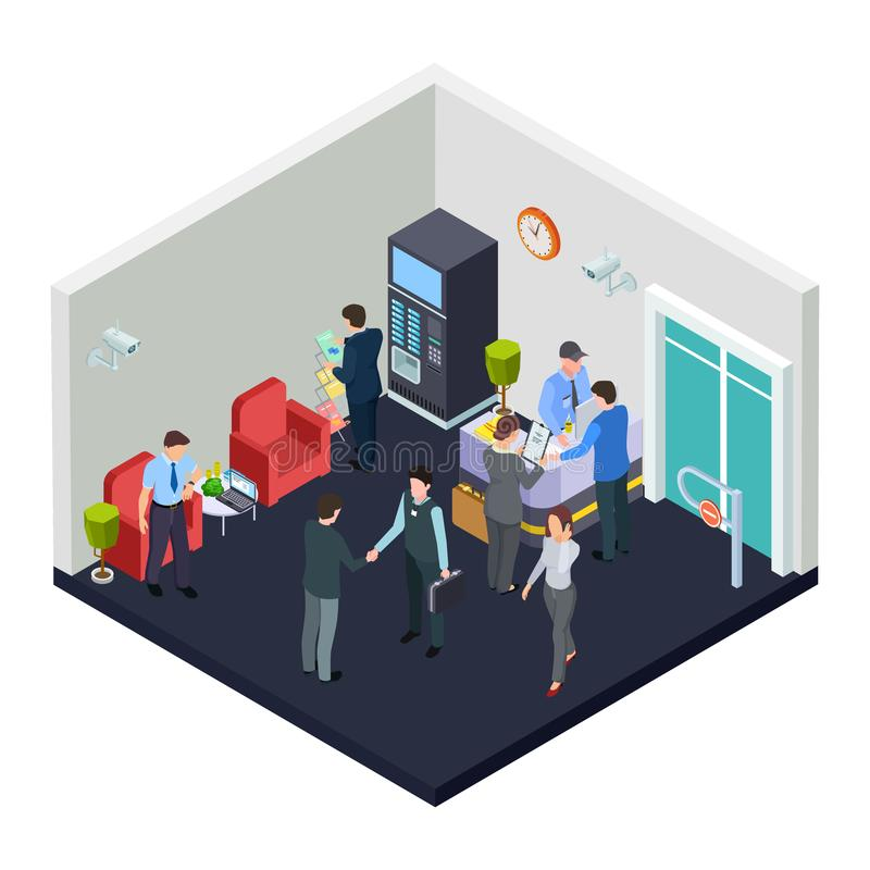 Vector isometric office lobby with security. Business people meet in lobby stock illustration