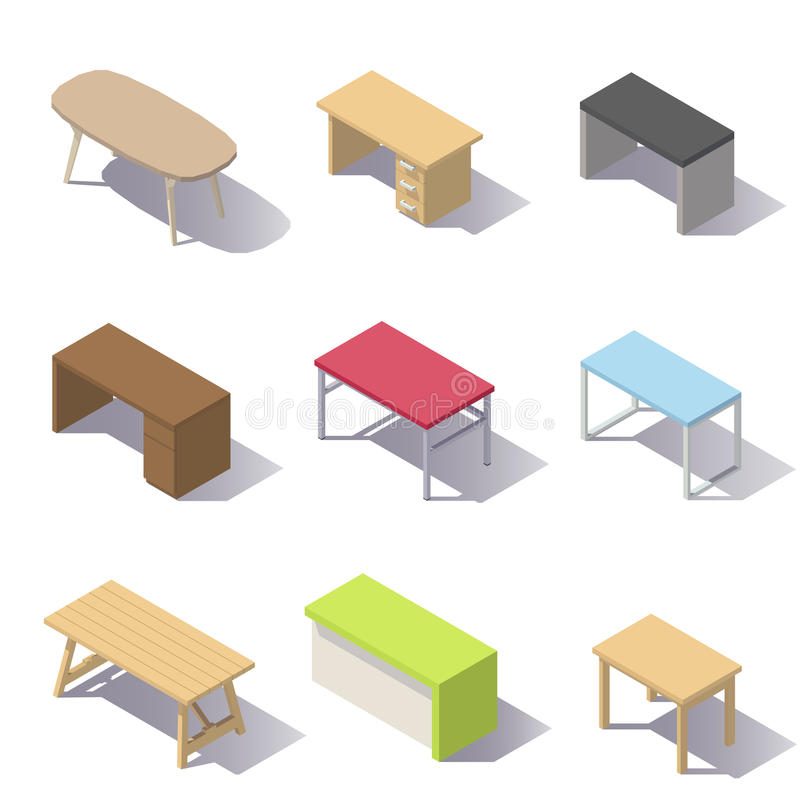 Vector Isometric Office Tables stock illustration