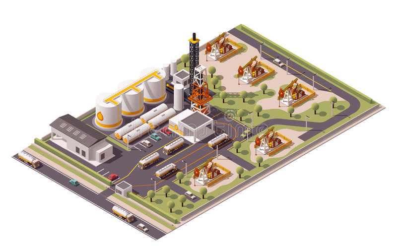 Vector isometric oil field icon royalty free illustration