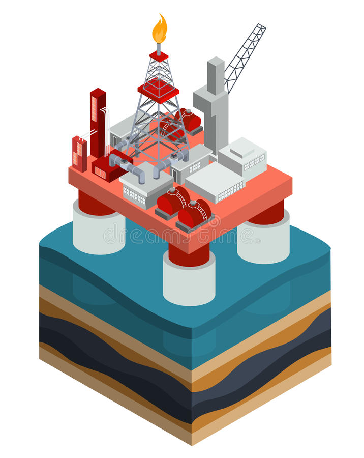 Vector isometric oil producing offshore platform royalty free illustration