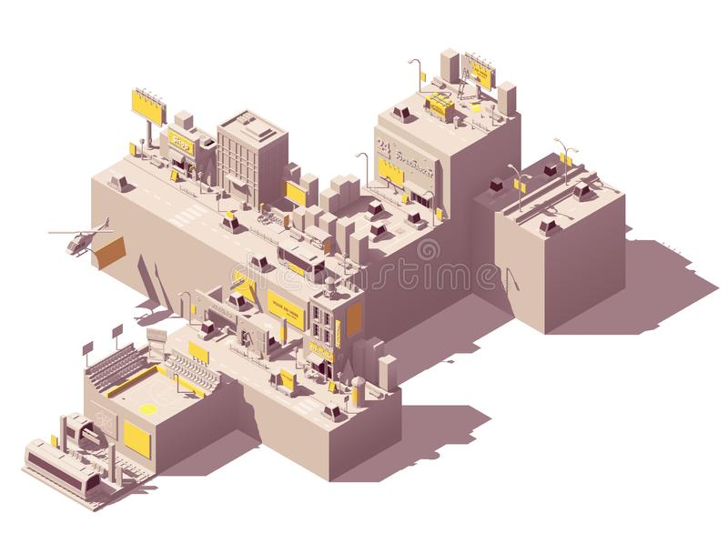 Vector isometric outdoor advertising examples. Vector isometric city with outdoor advertising examples like billboard and citylight on the streets, buildings vector illustration
