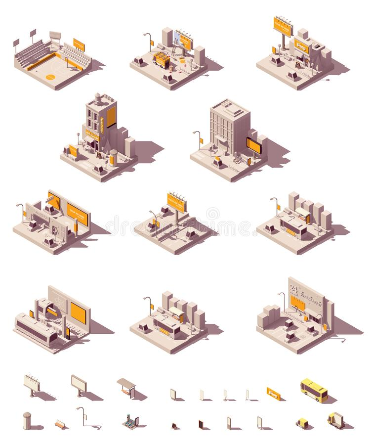 Vector isometric outdoor advertising examples stock illustration