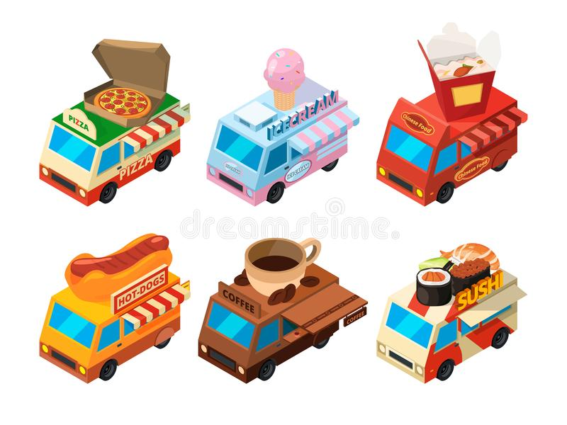 Vector isometric pictures set of different food trucks on the street stock illustration