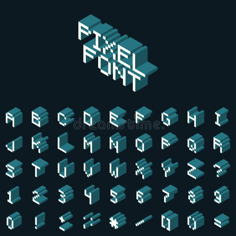 Vector Isometric Pixel Font Retro Game Industry 80s 90s