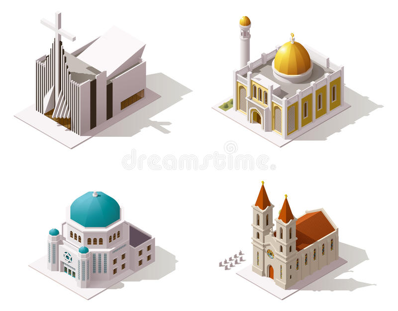Vector isometric places of worship stock illustration
