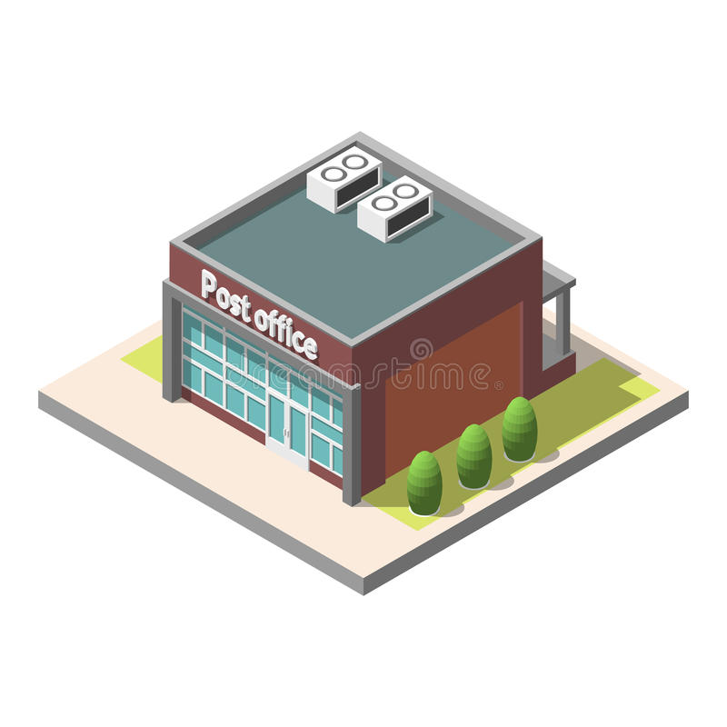 Vector isometric Post office building . Isolated on white background. Infographic element vector illustration