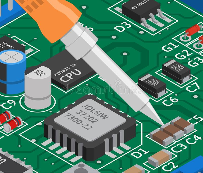 Vector isometric printed circuit board with soldering iron. Electronics repair vector illustration