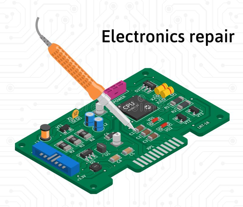 Vector isometric printed circuit board with soldering iron. Electronics repair stock illustration