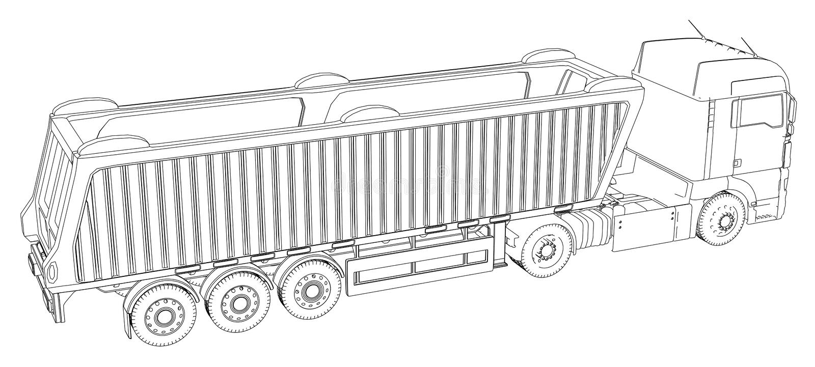 Vector Isometric representing truck or tractor with tipper semi-trailer. Created illustration of 3d. Wire-frame. Vector Isometric representing truck or tractor vector illustration