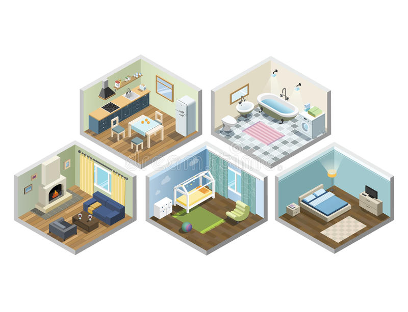 Vector isometric sat of home or flat furniture, Different kind of rooms stock image