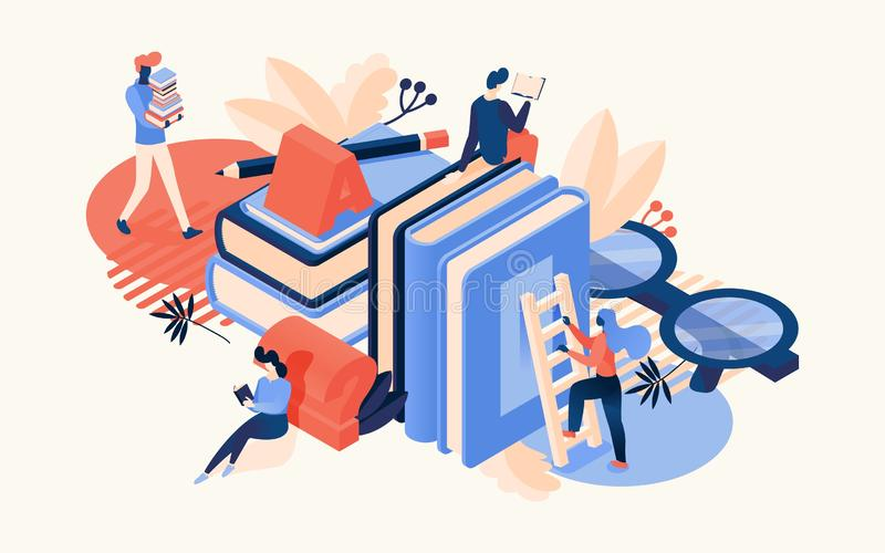 Vector isometric scene with large books, glasses, letter a and reading people. Drawn with bright orange and blue colors educative vector illustration