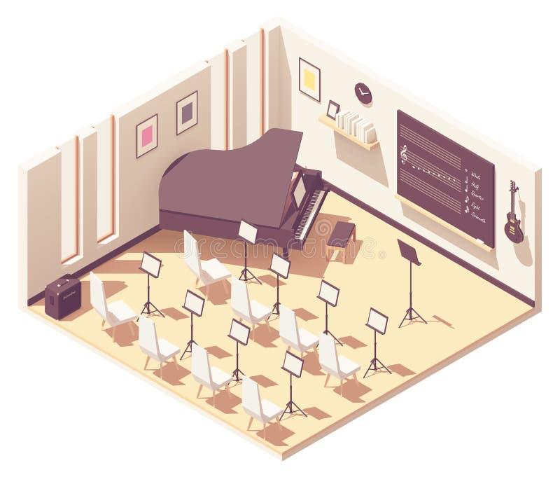 Vector isometric school music classroom royalty free illustration