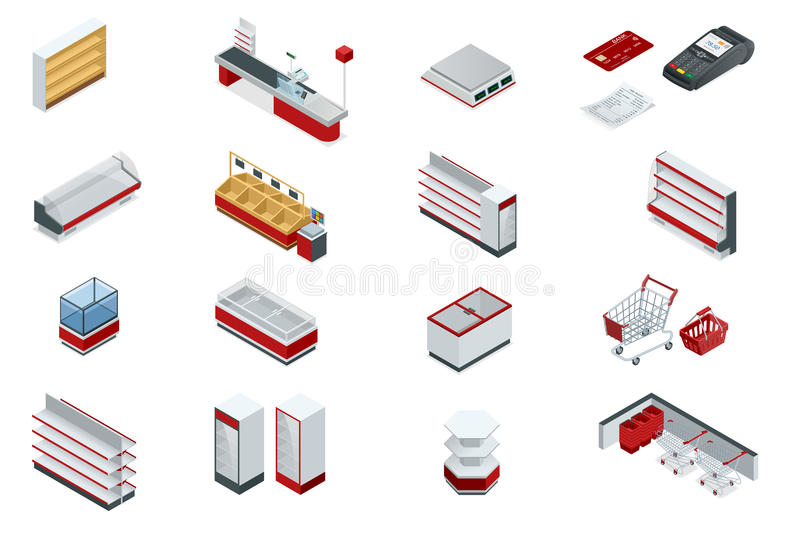 Vector isometric set elements for super market interior plan. Store shelves, cart, basket, equipment store, payment stock illustration