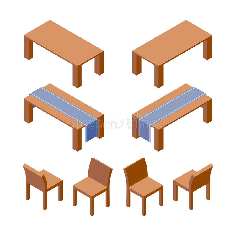 Vector isometric set of furniture as tables decorated with runner and wooden chairs. 3d collection good for interior design and royalty free illustration