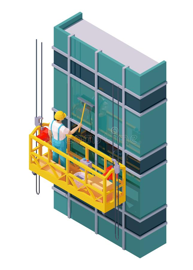 Vector isometric skyscraper windows cleaning. Suspended scaffold, construction cradle or suspended platform, high-rise building glass facade, worker washes royalty free illustration