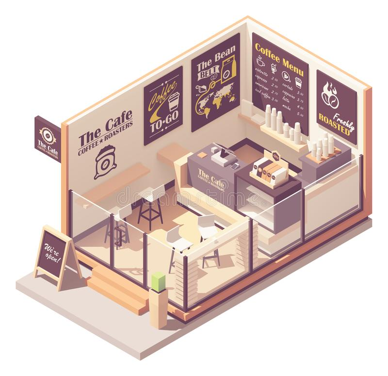 Vector isometric small coffeehouse vector illustration