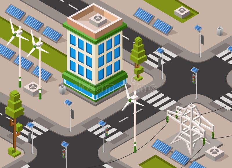 Vector isometric solar wind energy city street. Vector isometric solar and wind energy city street. 3d illustration with renewable alternative electricity supply stock illustration