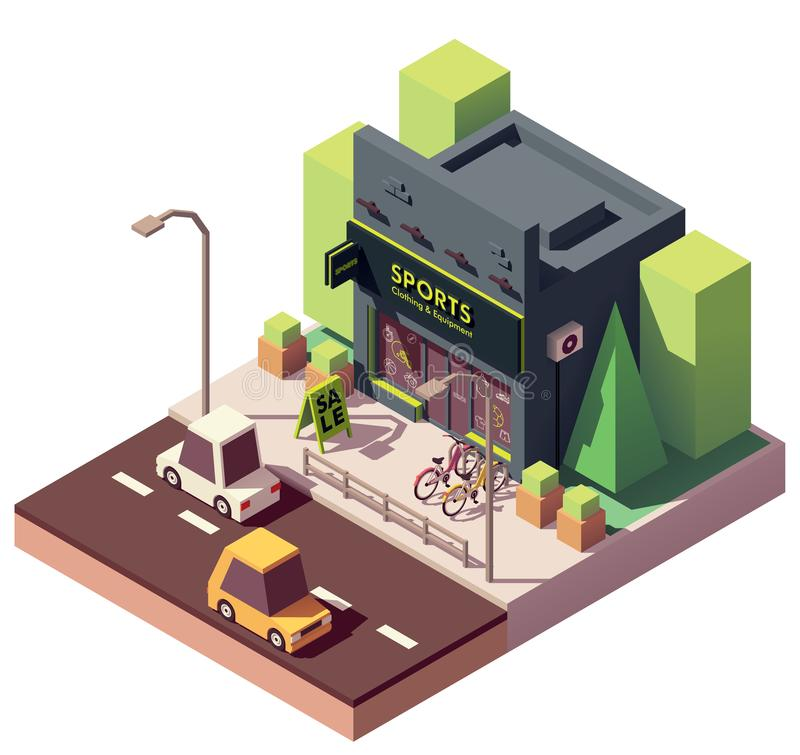 Vector isometric sports and fitness store stock illustration