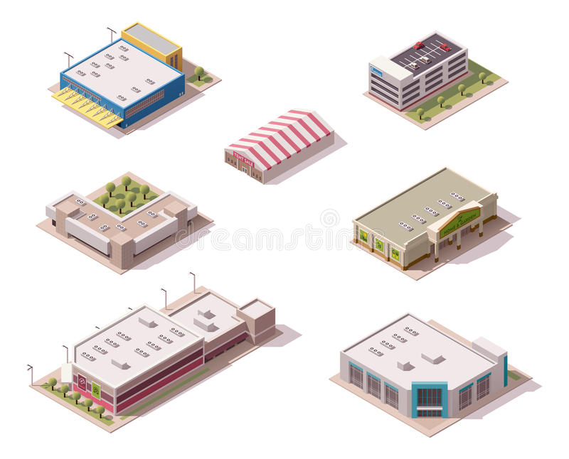 Vector isometric stores set. Vector isometric shopping malls and supermarkets buildings set royalty free illustration