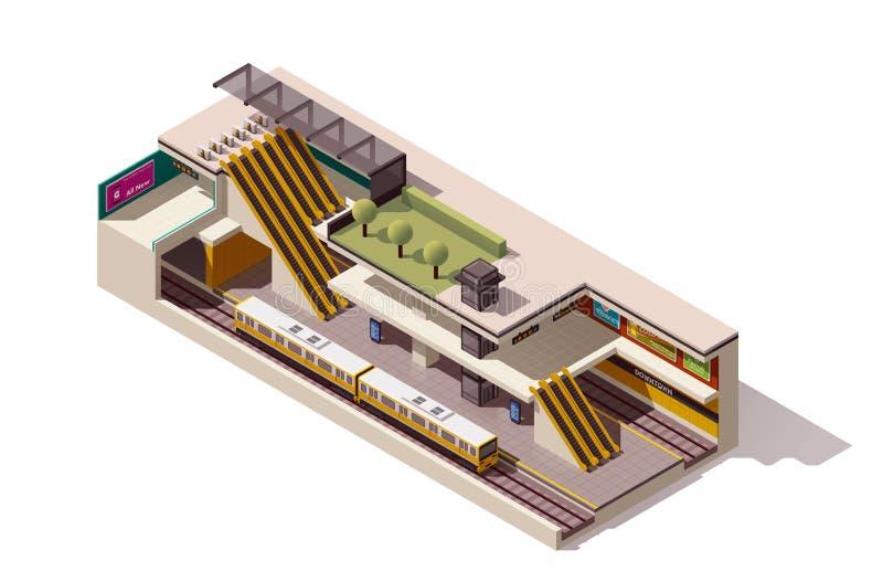 Vector isometric subway station cross section stock illustration