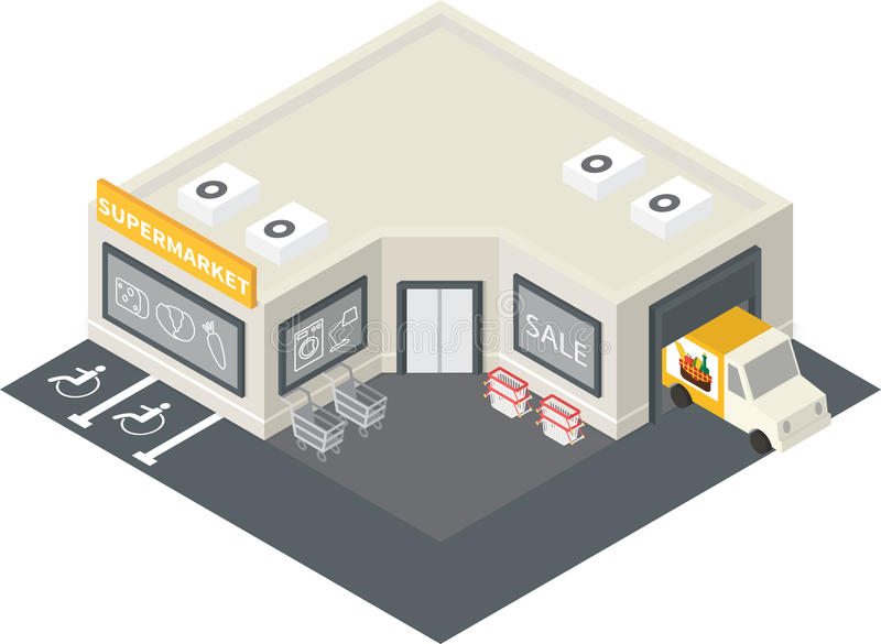 Vector isometric supermarket building icon. Vector isometric supermarket store shopping building icon vector illustration