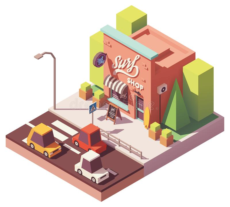 Vector isometric surf shop vector illustration