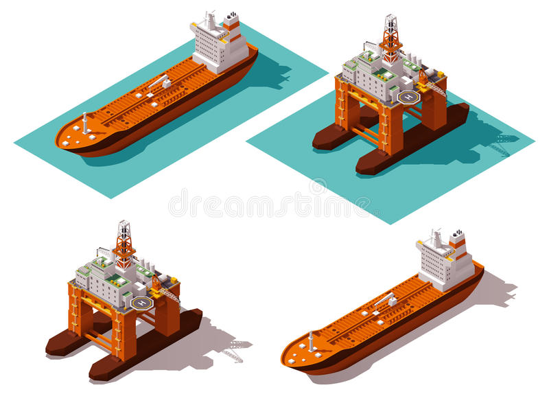 Vector isometric tanker and oil rig stock illustration