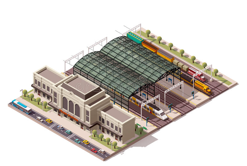 Vector isometric train station vector illustration