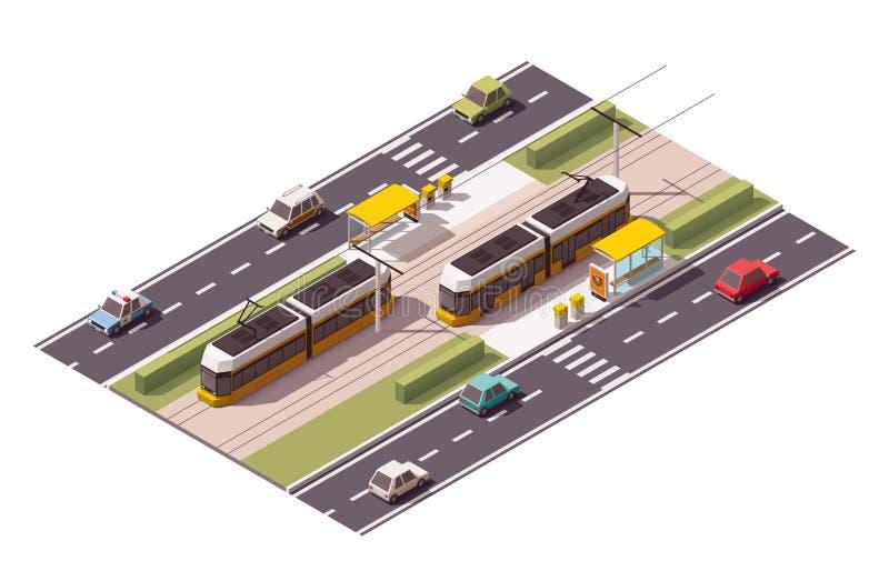 Vector isometric tram station vector illustration