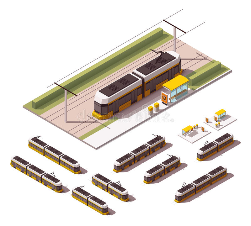 Vector isometric tramways stock illustration