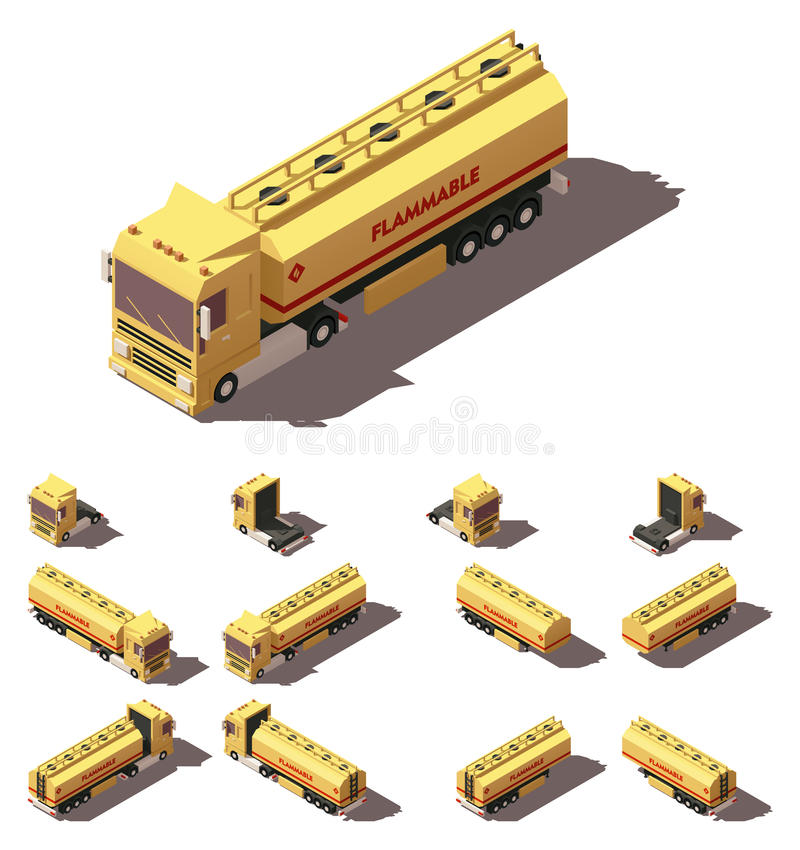 Vector isometric truck with liquid tank semi-trailer icon set vector illustration