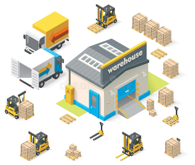 Vector isometric warehouse vector illustration