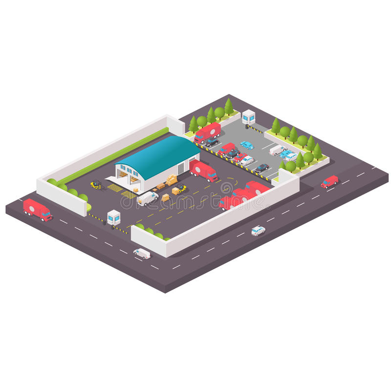 Vector isometric warehouse building icon. Isometric distribution warehouse with trucks loading and unloading goods. Isometric Factory distribution warehouse vector illustration