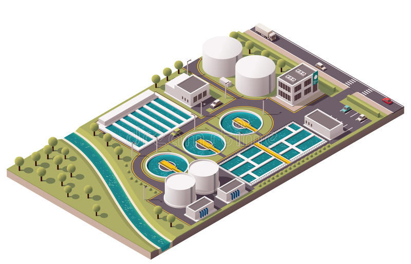 Vector isometric water treatment plant. Isometric icon set representing water treatment stock illustration
