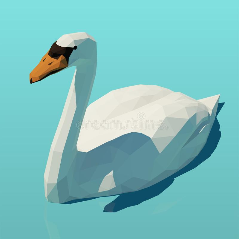 Vector isometric white swan on the water. Low poly 3d vector illustration stock illustration