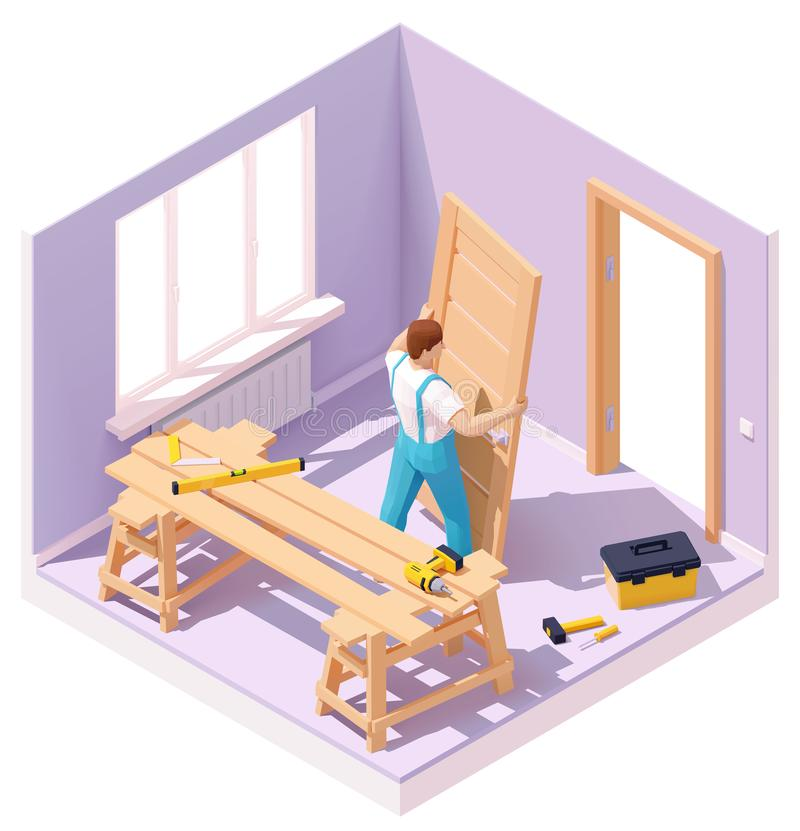 Vector isometric worker at door installation. Vector isometric carpenter worker at new wooden door installation in the house. Worker in blue overalls, related royalty free illustration