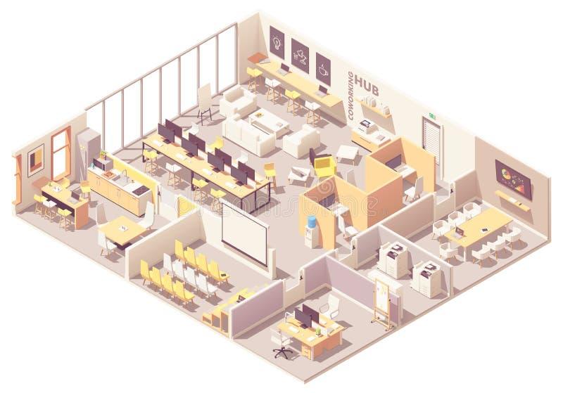 Vector isometrisch coworking ruimte binnenlands plan stock illustratie