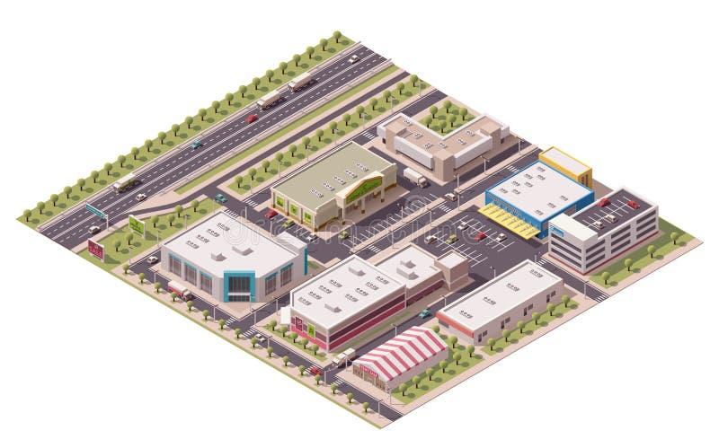 Vector isometrisch het winkelen district vector illustratie