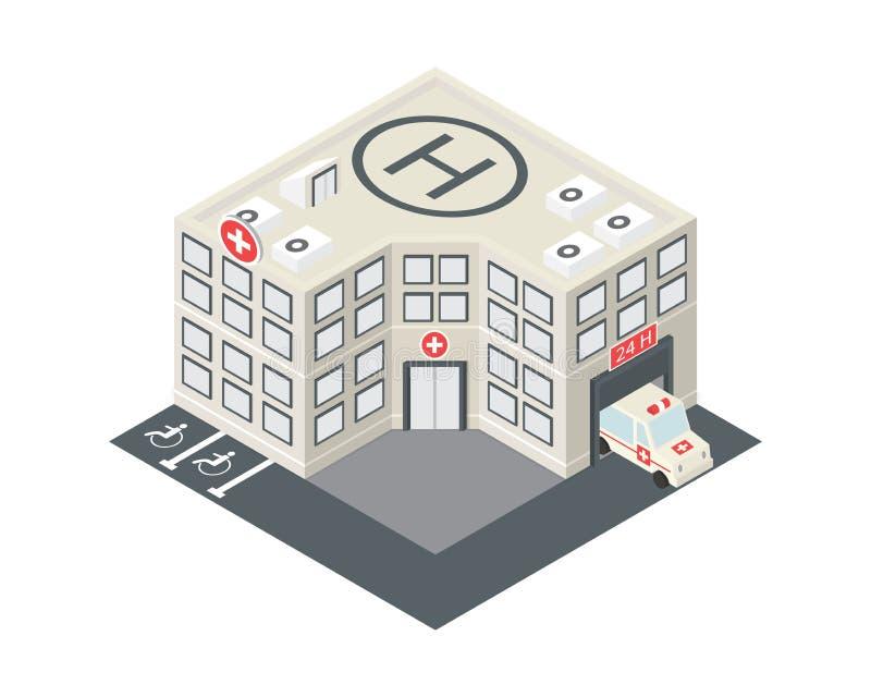 Vector isometrisch het ziekenhuis de bouwpictogram stock illustratie