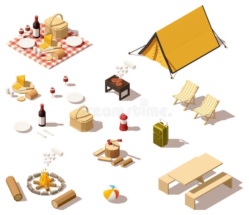 Vector isometrisch laag poly het kamperen materiaal royalty-vrije illustratie
