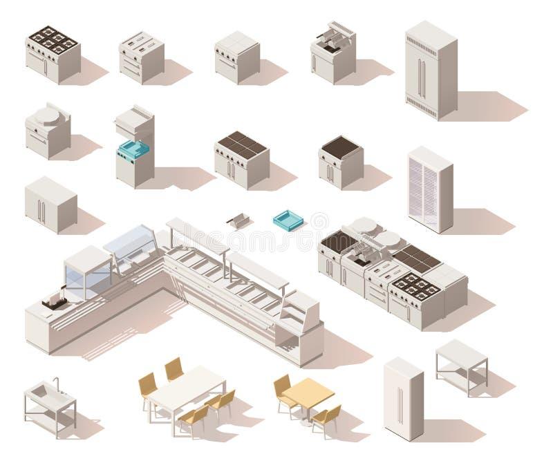 Vector isometrisch laag polyrestaurantmateriaal stock illustratie